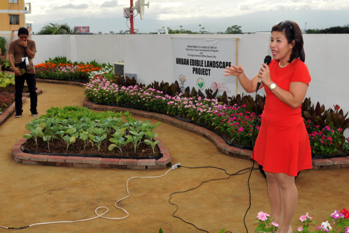 City Admin. Atty. Zuleika T. Lopez during the turn-over of the Urban Edible Landscape Project Monday morning.